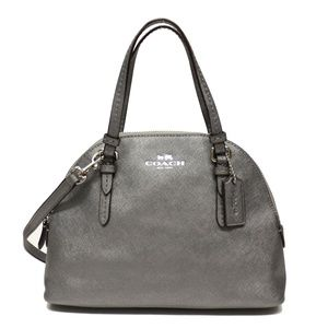 Coach Peyton Leather Mini Domed Satchel Anthracite